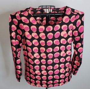 Loft pink & black polka dot blouse